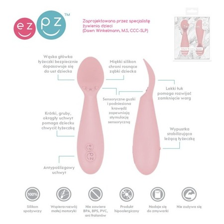 EZPZ Silikonowa łyżeczka Tiny Spoon 2 szt. pastelowy róż