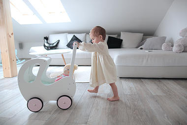 DREWNIANY wózeczek dla lalek, pchacz biały, POLSKI HANDMADE