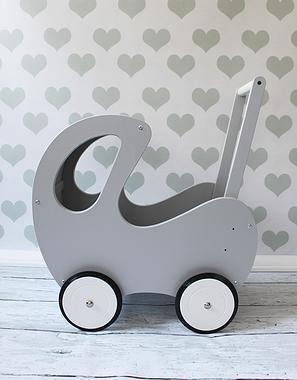 Drewniany wózeczek dla lalek, pchacz, polski handmade z IMIENIEM