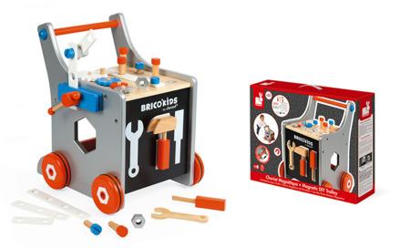 Drewniany wózek warsztat magnetyczny z narzędziami Bricolo Janod