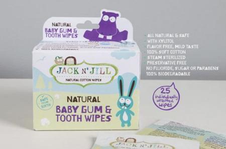 Jack N'Jill Naturalne chusteczki do mycia dziąseł niemowląt 25 szt.