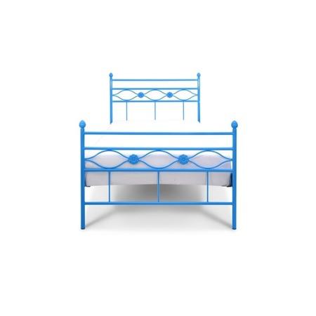 Łóżko metalowe młodzieżowe Floris 120/200 niebieskie