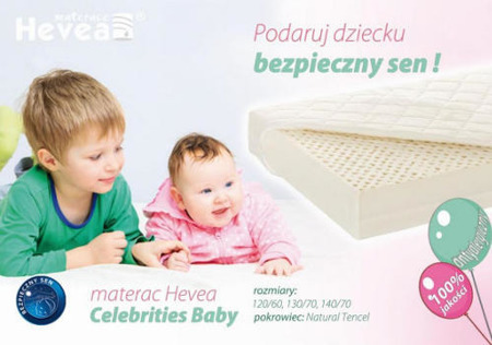 Materac lateksowy Hevea Celebrities 140/70 tencel