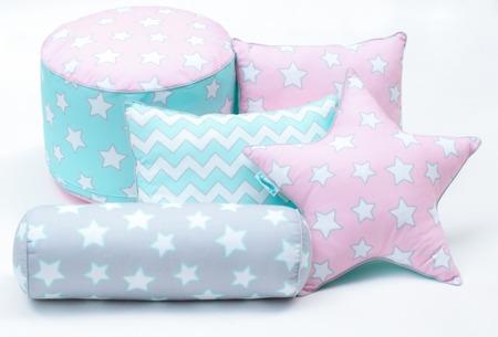Poduszka ozdobna 'STAR' Pink & Mint Stars