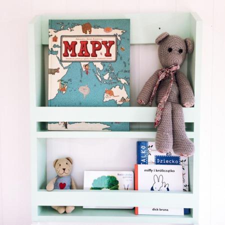 Półka na książki - biblioteczka mała wąska, kolory
