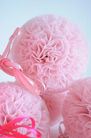 Pompon tiulowy Brudny Róż 20 cm, handmade