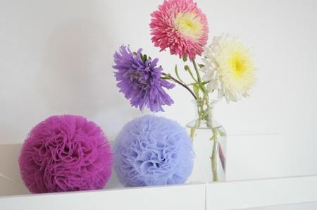 Pompon tiulowy Fioletowy 30 cm, handmade