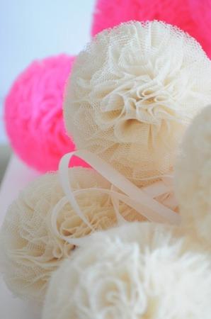 Pompon tiulowy Malinowy Róż 20 cm, handmade