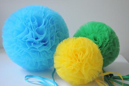 Pompon tiulowy Niebieski 15 cm, handmade