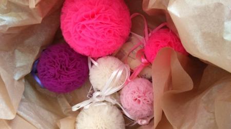 Pompon tiulowy Różowy 15 cm, handmade