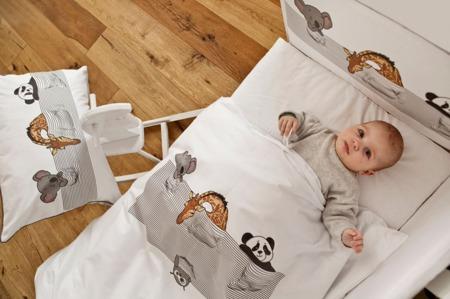 Pościel do łóżeczka 3-elementowa, śpiące zwierzątka 135x100cm