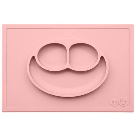 Silikonowy talerzyk z podkładką EZPZ 2 w 1 Happy Mat, Pastelowy róż