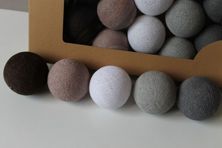 Świecące kule COTTON BALL zestaw Chestnut 20 sztuk