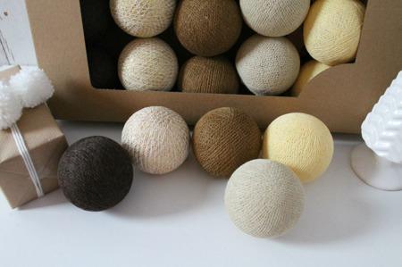 Świecące kule COTTON BALLS  XMAS BROWN, 10 sztuk